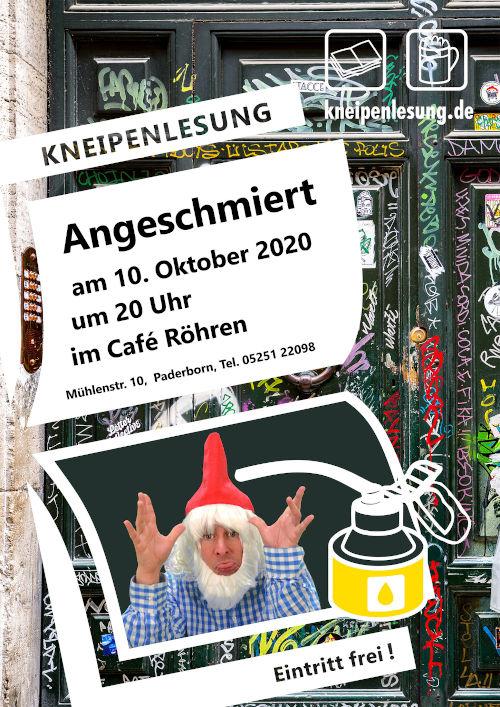Plakat zur Lesung Angeschmiert im Café Röhren